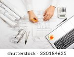 architect working on blueprint. ... | Shutterstock . vector #330184625