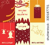 set of six xmas gift cards in... | Shutterstock .eps vector #330187751