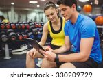trainer and client discussing... | Shutterstock . vector #330209729