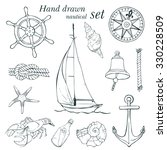 hand drawn nautical set  vector ... | Shutterstock .eps vector #330228509
