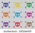 knitted skulls pattern   Shutterstock .eps vector #330266459