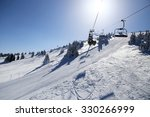Ski Lift And Ski Run In Sunny...