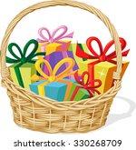 basket full of gift isolated on ... | Shutterstock .eps vector #330268709
