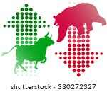 stock bull and bear icon logo... | Shutterstock .eps vector #330272327