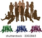 A group of friends each is a complete silhouette on separate layer in the vector files (those hugging are an individual set). Vector file includes several different colour versions - stock vector