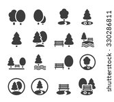 Park Icon Set. Trees, forest and  bench vector icons | Shutterstock vector #330286811