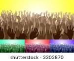 Crowd. A crowd with their hands up. Vector file includes several different colour versions - stock vector