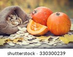 Pumpkins And Canvas Bag With...