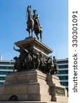 Small photo of Statue of Russian king Alexander II, in Sofia, Bulgaria in a summer day