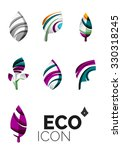 set of abstract eco leaf icons  ... | Shutterstock .eps vector #330318245