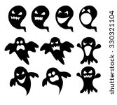 vector set of black cute ghost... | Shutterstock .eps vector #330321104