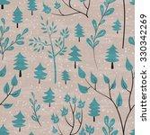 winter forest seamless pattern. ... | Shutterstock .eps vector #330342269