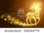 christmas card with silhouette... | Shutterstock .eps vector #330344774
