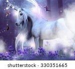 a majestic unicorn with three... | Shutterstock . vector #330351665