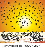 illustration crows in winter at ... | Shutterstock .eps vector #330371534