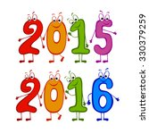 set of 2015 and 2016 new year's ... | Shutterstock .eps vector #330379259