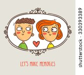 cartoon couple in love  framed... | Shutterstock .eps vector #330393389