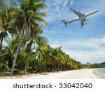 Tropical beach of Langkawi island - stock photo