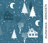 seamless winter pattern with... | Shutterstock .eps vector #330423374