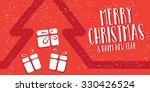 christmas greeting card  in red.... | Shutterstock .eps vector #330426524
