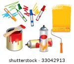 set of 3d paint  draw and spray ... | Shutterstock .eps vector #33042913