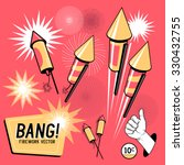 retro firework rockets. vector... | Shutterstock .eps vector #330432755