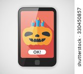 pumpkin candle flat icon with... | Shutterstock .eps vector #330450857