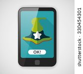 witch hat flat icon with long... | Shutterstock .eps vector #330454301
