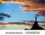 climber  is silhouetted on the... | Shutterstock . vector #33048028