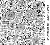 Vector Flower Pattern.  Black...