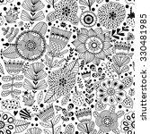 Vector Flower Pattern.  Black...