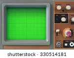 Small photo of Closeup of green CRT display monitor and control panel of an old oscilloscope