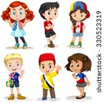 boys and girls from different... | Shutterstock .eps vector #330523319