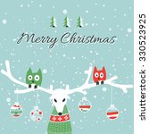 colorful 'merry christmas' card ... | Shutterstock .eps vector #330523925