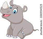 cute baby rhinoceros sitting  | Shutterstock .eps vector #330554525