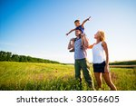 happy family having fun outdoors | Shutterstock . vector #33056605