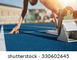 feet on starting block ready... | Shutterstock . vector #330602645