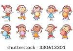 set of cartoon kids in santa... | Shutterstock .eps vector #330613301