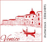 streets in venice with gondola  ... | Shutterstock .eps vector #330614891