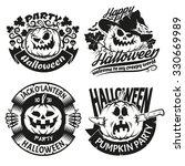halloween pumpkin in logos ... | Shutterstock . vector #330669989