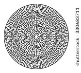 round maze   labyrinth with... | Shutterstock .eps vector #330683711