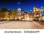 Stock photo highlighting buildings and streets amsterdam the netherlands 330686699