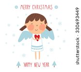greeting card  christmas angel. ... | Shutterstock .eps vector #330693449