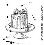 vector drawing of cake with... | Shutterstock .eps vector #330703904