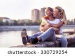 friendship  girls listen the... | Shutterstock . vector #330729254