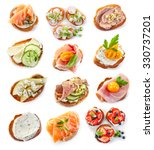 Small photo of various bruschettas isolated on white background, top view