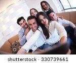 group of friends taking selfie... | Shutterstock . vector #330739661