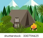 camp forest mountain flat... | Shutterstock .eps vector #330754625
