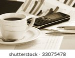cup  coffee on a morning paper... | Shutterstock . vector #33075478
