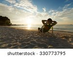 Man Relax On Chair Beach In...
